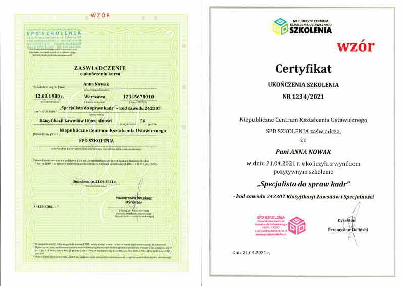 kurs kadr online certyfikat i zaświadczenie