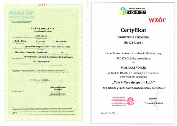 kurs kadr online z certyfikatem i zaświadczeniem