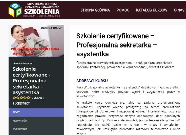 sekretarka szkolenie online
